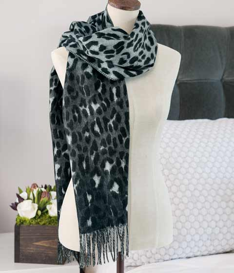Snow Leopard Print Scarf
