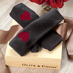 Cashmere Heart Fingerless Gloves
