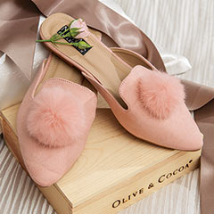 Blush Pom Slippers