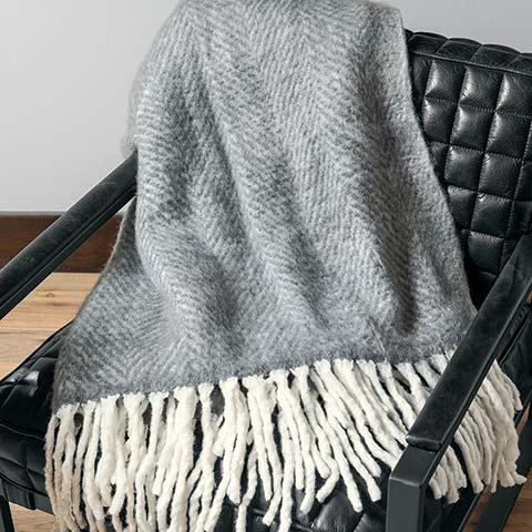 Herringbone Fringed Throw