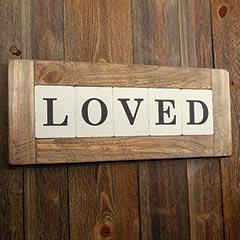 """Loved"" Wooden Tile Wall Art"