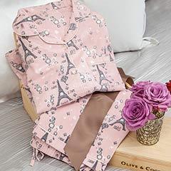 Breakfast In Paris Flannel Pajamas