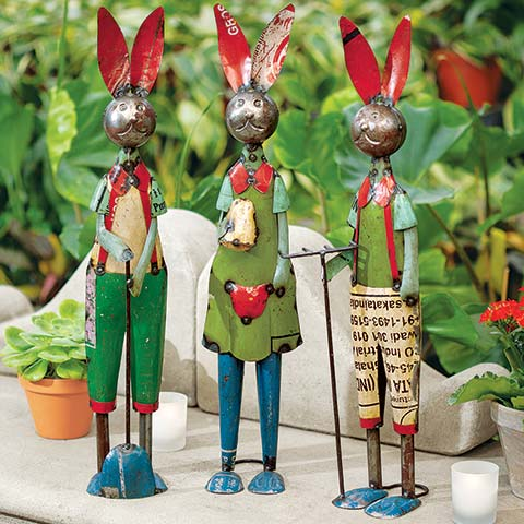 Reclaimed Metal Rabbit Trio