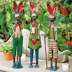 Reclaimed Metal Rabbit Trio