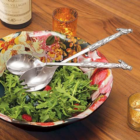 Les Fleurs Salad Bowl & Servers