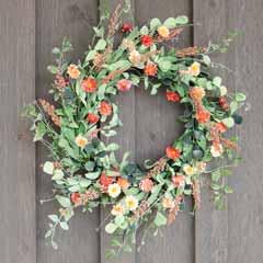 Coral & Eucalyptus Wreath