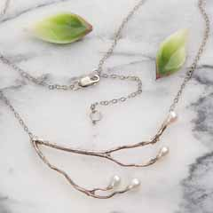 Silver Branch & Pearl Necklace