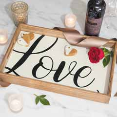 """Love"" Wooden Serving Tray"