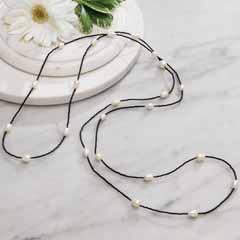 Black & Pearl Wrap Necklace