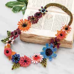 Artisanal Beaded Flower Necklace