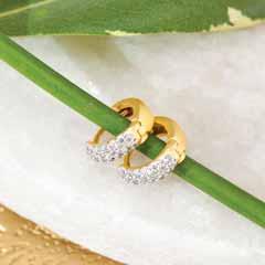 FREIDA ROTHMAN Mini Pave Hoop Huggie Earrings