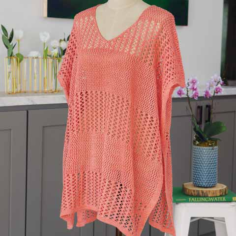 Coral Crocheted Coverup