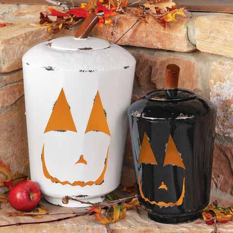 Blanc & Noir Enamel Pumpkins