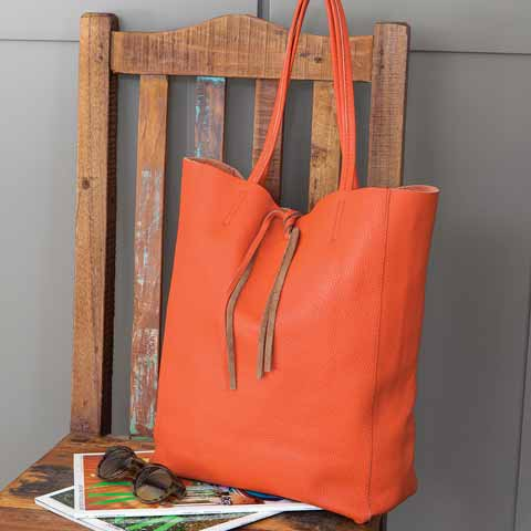Persimmon Italian Leather Tote