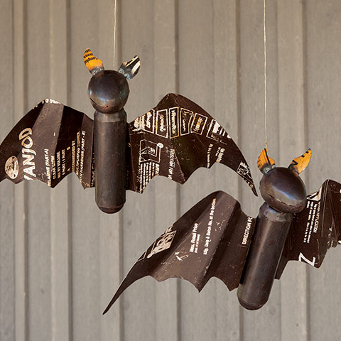 Reclaimed Metal Flying Bat