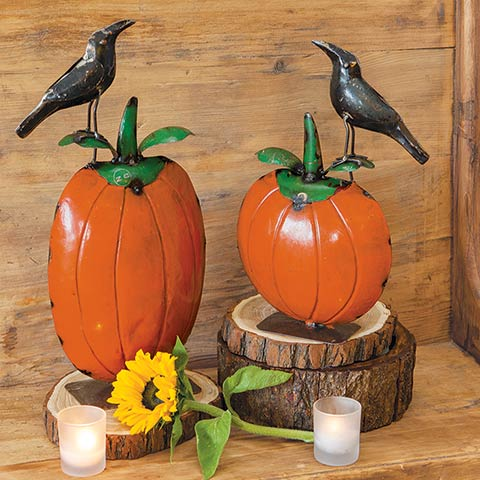 Metal Crows On Pumpkins