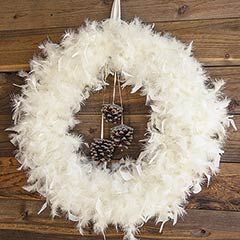 Feathered Pinecone Wreath