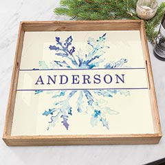 Watercolor Snowflake Personalized Tray