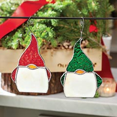 Stained Glass Gnome Ornaments