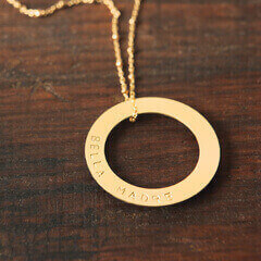Bella Madre Hand Stamped Gold Necklace