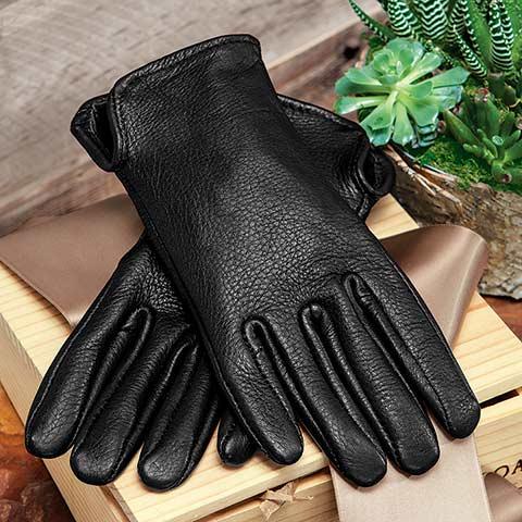 Men's Black Deerskin Gloves