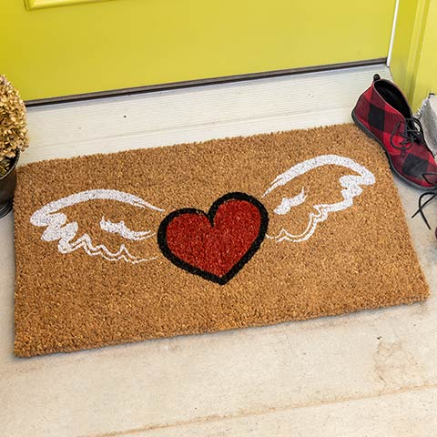 Winged Love Door Mat