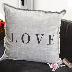 """Rustic Elegance """"Love"""" Pillow"""
