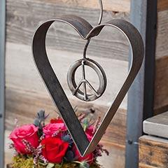 Peace & Love Metal Sculpture