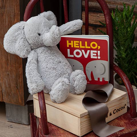 """Hello Love!"" Elephant & Storybook"