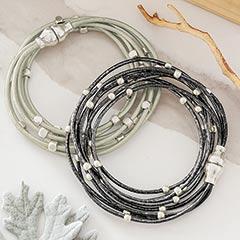 Silver & Noir Wrap Bracelets
