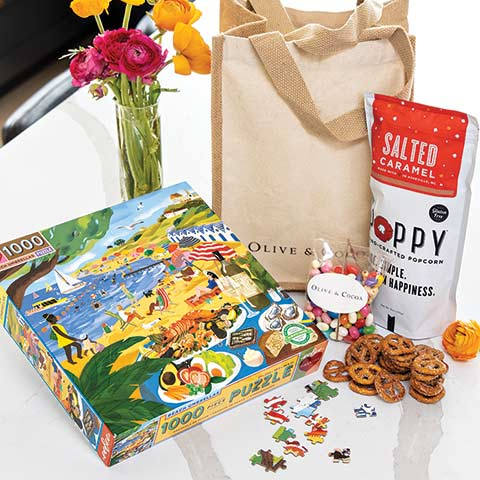 Seaside Puzzle & Snacks Tote