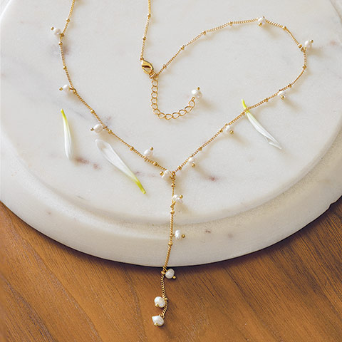 Seed Pearl Lariat Necklace