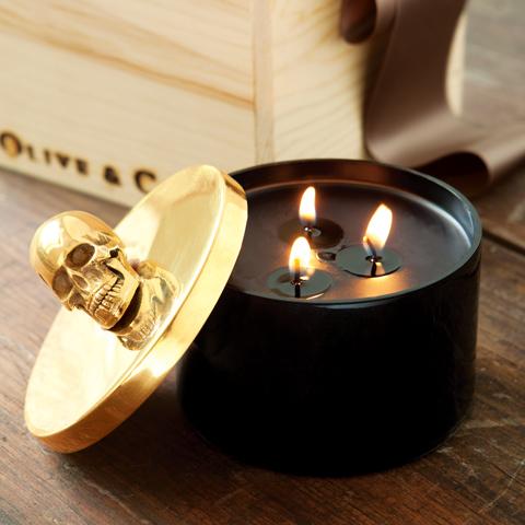 Samara Gold Skull Candle