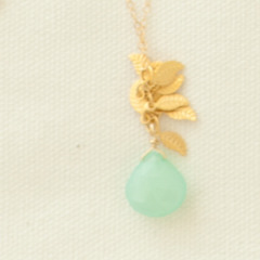 Aqua & Gold Leaf Necklace