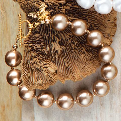 Caramel Antiqued Pearl Bracelet