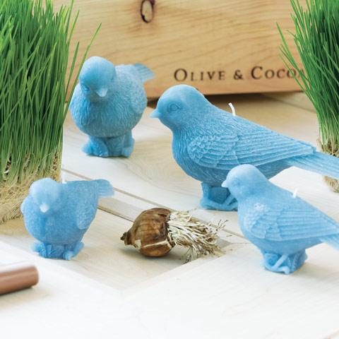 Set of 4 Blue Bird Candles