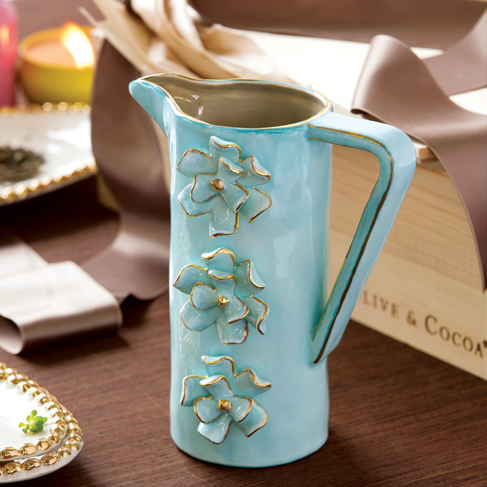 Aquamarine Flower pitcher for mother's day