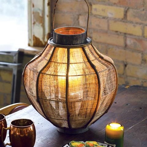 Burlap & Bamboo Lantern