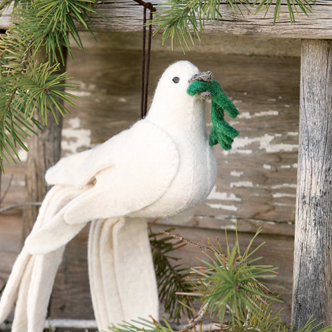 Peace Dove Felted Ornament