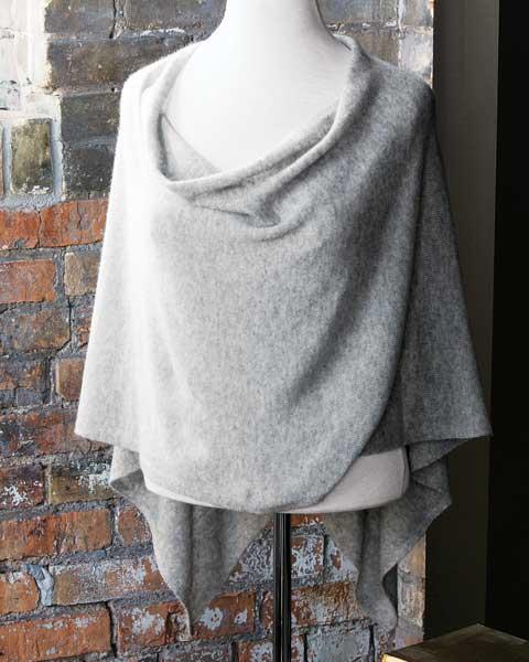Dove Grey Cashmere Poncho