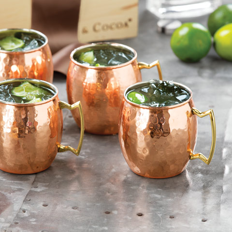TD Ameritrade Institutional Hammered Copper Moscow Mule Mugs Set Of 2