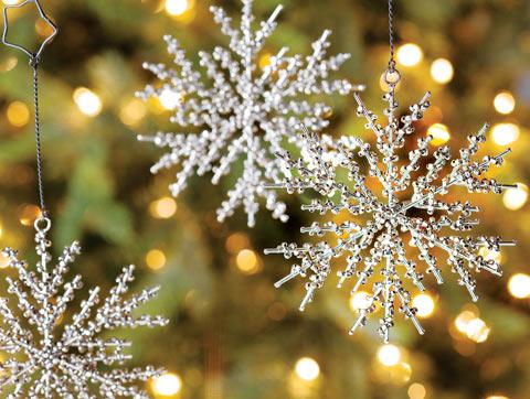 Metal Beaded Snowflake Ornaments