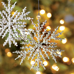 Metal Beaded Snowflake Ornaments