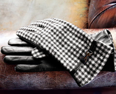 Gingham Wool & Leather Gloves