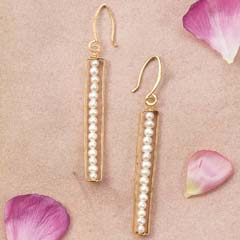 Pearl Column Earrings