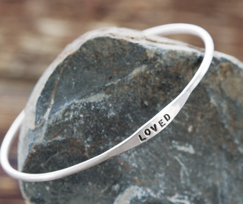 """Loved"" Silver Bangle"