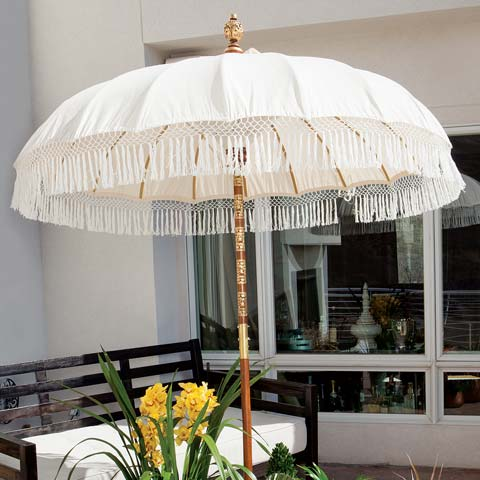 Asha Fringed Patio Umbrella