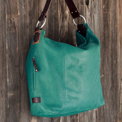 Aqua Italian Leather Hobo