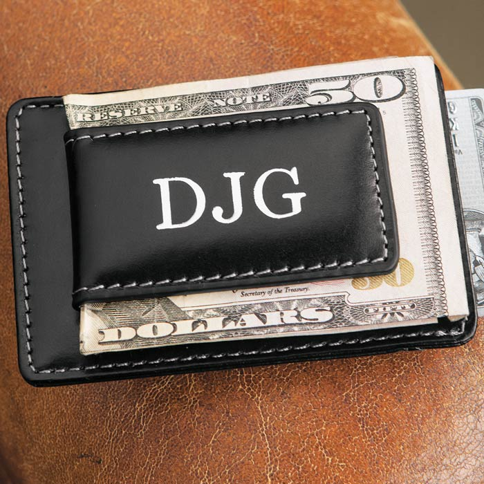 Monogrammed Leather Money Clip Olive Cocoa