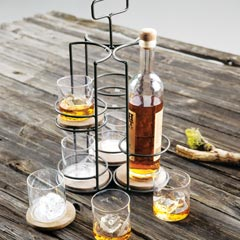 Rye Bottle Caddy & Glass Set